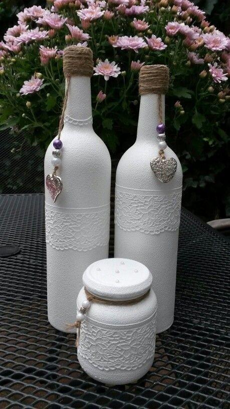 покраска бутылки в белый цвет