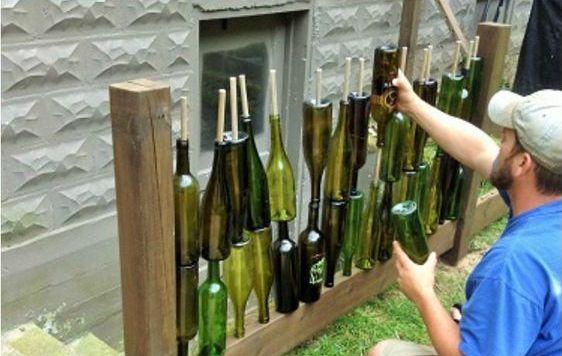 изгородь из бутылок