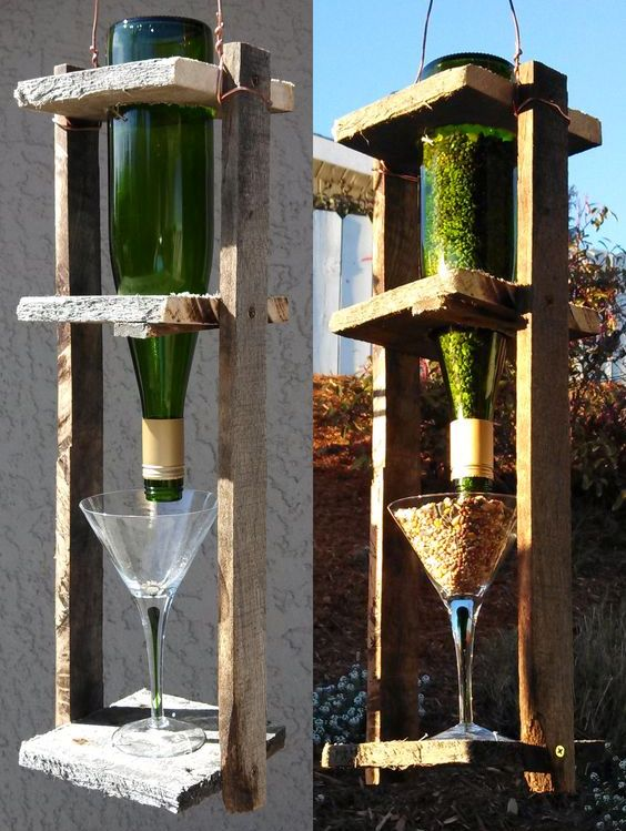 Кормушки для птиц из стеклянной бутылки