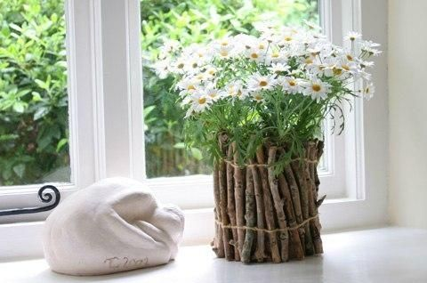 Вазон для цветов из веток фото