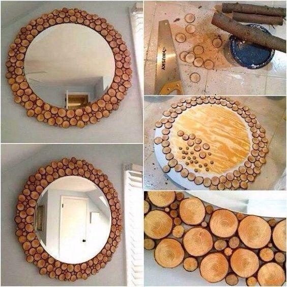 зеркало с декором веток дерева
