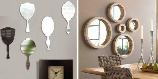 несколько зеркал на стене