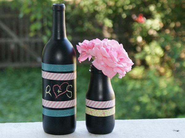 как покрасить бутылку шампанского