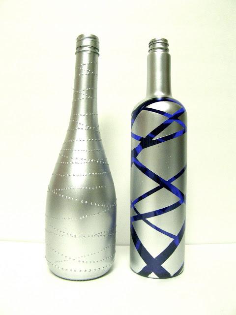 окраска бутылок шампанского в серебро