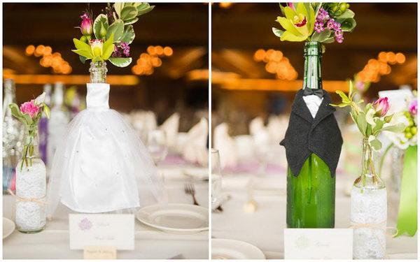 декор бутылок на свадьбу жених и невеста