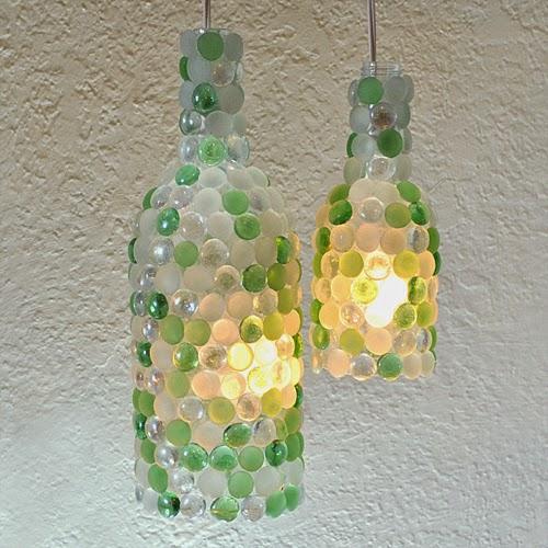 светильник из бутылки стеклянной фото