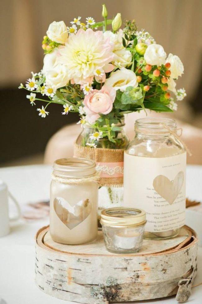 Декор ваз бумагой с сердечками
