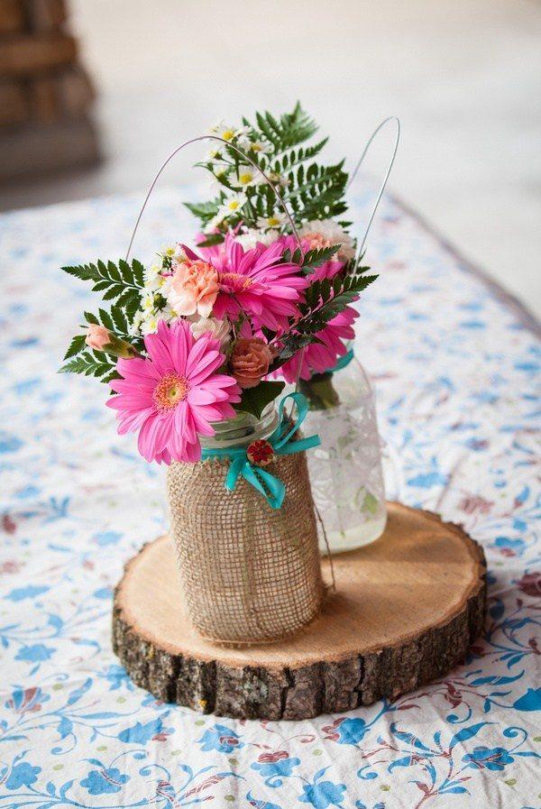 Декор полотном вазы в стиле рустик