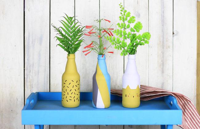 роспись бутылки ваза